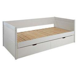 Kanapa z wysuwanym łóżkiem alfiero z szufladami - 2 × 90 × 190 cm - lakierowane na biało marki Vente-unique.pl