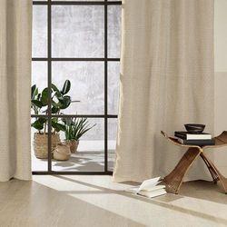 Stylowa zasłona chenil, beżowa z wzorem, wykonana z bawełny, wiskozy oraz poliestru, wymiary 260 x 140 cm, do wszystkich pomieszczeń marki Atmosphera créateur d'intérieur