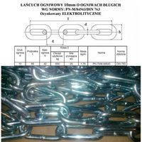 ŁAŃCUCH 10x66 ogniwa długie OCYNK elektroli DIN763