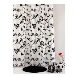 Bisk Zasłonka prysznicowa tekstylna biały + czarny stylissimo