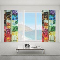 Zasłona okienna na wymiar - WATERCOLOR PALETTE
