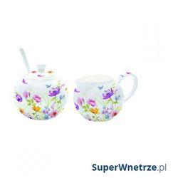 Cukiernica z łyżeczką + mlecznik do kawy Nuova R2S Romantic bratki