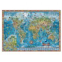 Dziecięcy świat - Ilustrowana mapa świata, rama aluminiowa