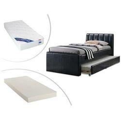 Łóżko wysuwane andrea - 2 × 90 × 190 cm - materiał skóropodobny świerk + materac do dostawki + materac zesus 90 × 190 cm marki Vente-unique.pl