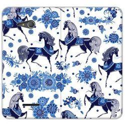 Flex book fantastic - sony xperia e4g - etui na telefon flex book fantastic - folkowe niebieskie konie wyprodu