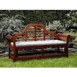 Ławka ogrodowa drewniana 180 cm poducha w szaro-beżowe zygzaki TOSCANA Marlboro