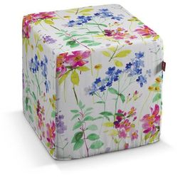 pufa kostka twarda, kolorowe kwiaty na białym tle, 40x40x40 cm, monet marki Dekoria