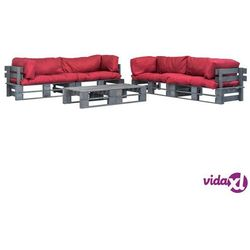 vidaXL Ogrodowe meble z palet, 6 szt., drewno FSC + czerwone poduszki (8718475728085)