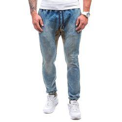 Niebieskie spodnie jeansowe joggery męskie Denley 0465 - NIEBIESKI