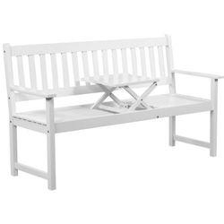 vidaXL Ławka ogrodowa ze stolikiem, z drewna akacjowego, biała