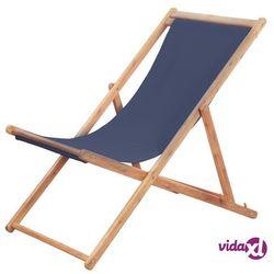 Vidaxl składany leżak plażowy, tkanina i drewniana rama, niebieski (8718475613763)