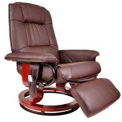 FOTEL MASUJĄCY WYPOCZYNKOWY BIUROWY MASAŻ GRZANIE - Brązowy (fotel do masażu)