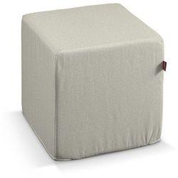 pokrowiec na pufę kostke, melanż szaro-beżowy, kostka 40x40x40 cm, loneta marki Dekoria