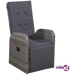 vidaXL Krzesło ogrodowe z poduszką, polirattanowe, czarne