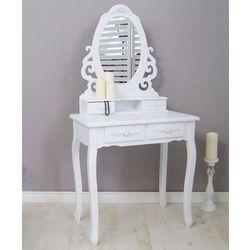 Stylowa toaletka, seria meridian, gięte nogi, zdobienia, motyw kwiatowy, matowa biel. marki Design by impresje24