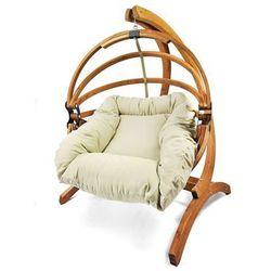 Fotel hamakowy drewniany Gaya(M)-B + stojak Genoa, miodowy beż Zestaw:Gaya (M)-B+Genoa