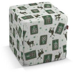 Dekoria Pufa kostka twarda, zielono-szare renifery na jasnym tle, 40x40x40 cm, Nordic do -30%