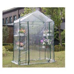 Vente-unique Mini szklarnia ogrodowa z konstrukcją stalową wilsonea 1 m² - szer. 143 × szer. 73 × wys. 195 cm