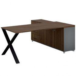 Biurowy stół roboczy alfa x z szafką po lewej, blat 1800 x 800 mm, wzór orzech marki B2b partner