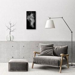Zegar Szklany Pionowy Dym abstrakcja Czarno-biały, kolor wielokolorowy