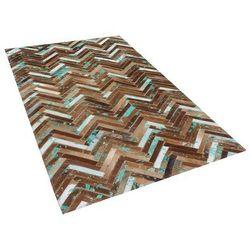 Dywan - brązowo - beżowo - niebieski - skóra - 80x150 cm - AMASYA