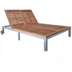 Leżak z drewna akacjowego, 207 x 130 x (31-88) cm marki Vidaxl