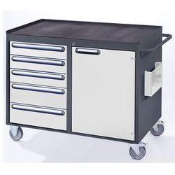 Stół warsztatowy, ruchomy,5 szuflad, 1 drzwi, półka metalowa z matą gumową