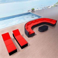 Vidaxl Zestaw mebli ogrodowych sofa i leżaki, rattan pe, czerwone