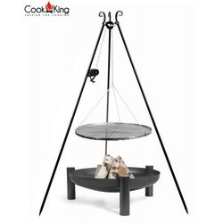 Zestaw 3w1 grill z kołowrotkiem stal czarna 50cm + palenisko palma 60cm marki Cook&king