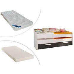 Vente-unique Wysuwane łóżko anselme — 2 szuflady — 90 × 190 cm — czarne + wysuwany materac + materac zeus 90 × 190 cm
