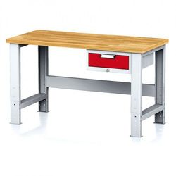 Stół warsztatowy MECHANIC, 1500x700x700-1055 mm, nogi regulowane, 1x szufladowy kontener, 1x szuflada, czerwona