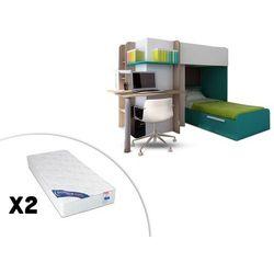 Vente-unique Łóżko piętrowe samuel – 2 × 90 × 190 cm – wbudowane biurko – kolor sosna biała i turkusowy – 2 materace zeus 90 × 190 cm