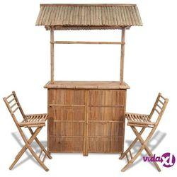 Vidaxl bambusowy bar z dwoma krzesłami