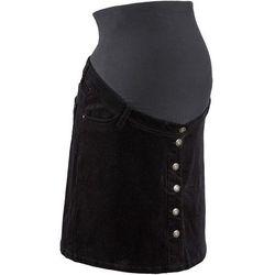 Spódnica sztruksowa ciążowa z guzikami, długość przed kolano  czarny wyprodukowany przez Bonprix