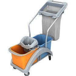 Wózek do sprzątania dwuwiadrowy 2 x 20 litrów z wyciskarką do mopa i obręczą na worek TS20019 Splast, NTS20019