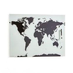 Tablica szklana wendy, 800x500 mm, mapa świata, czarny/biały marki Aj produkty
