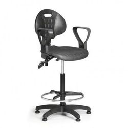 Krzesło pur z podłokietnikami, asynchroniczna mechanika, ślizgacze marki B2b partner
