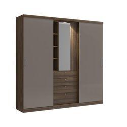 Szafa bodil - drzwi przesuwne - lustro i szuflady - dł.240 cm - kolor: czekoladowy i ciemnoszary marki Vente-unique