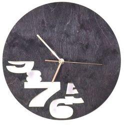 Congee.pl Drewniany zegar na ścianę abstrakcja ze złotymi wskazówkami