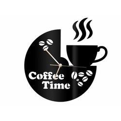 Zegar z pleksi na ścianę Coffee Time ze złotymi wskazówkami