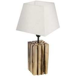 Drewniana lampa stojąca ribadeo 49669 abażurowa lampka nocna na stolik drewno kremowa marki Eglo