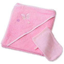 Easy Baby Ręcznik kąpielowy z kapturem 100x100 z myjką Butterfly rose (360-85) (4043025360854)