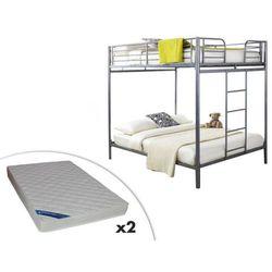 Łóżko piętrowe GEMINI II – 2 x 140 × 190 cm – Srebrne + 2 materace ZEUS 140 × 190 cm
