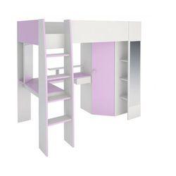 Łóżko antresola gemma - 90 × 200 cm - z biurkiem, półkami i szafką - fiołkowy i biały marki Vente-unique
