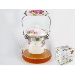 Czajnik szklany z zaparzaczem porcelanowym
