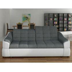 Vente-unique Sofa 3-osobowa z tkaniny i materiału skóropodobnego farez - model dwukolorowy szary i biały.