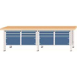 Stół warsztatowy, bardzo szeroki, 4 drzwi, 8 szuflady, blat z litego drewna buko