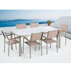 Beliani Zestaw ogrodowy biały ceramiczny blat 180 cm 6 beżowych krzeseł grosseto