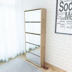 szafka na buty z 5 półkami lustrem w kolorze dąb 63x17x169,5 cm marki Vidaxl