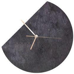 Drewniany zegar na ścianę okrągły ucięty ze złotymi wskazówkami (5907509934339)